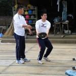 投擲ブロックの補強練習