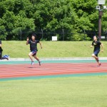 400m 前半200mの練習          左から青木・武藤・木津