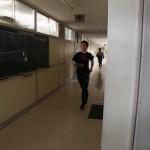 短距離は校舎内にて練習