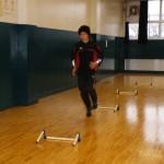 卓球場にてミニハードル練習