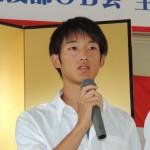 4×100mRで優勝したメンバーの         奥秀平(3年)