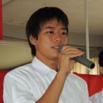 4×100mRで優勝したメンバーの            福島一貴(3年)