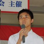 4×100mRで優勝したメンバーの                 舛田龍之介(3年)