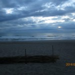 朝の散歩で海岸まで歩き体操